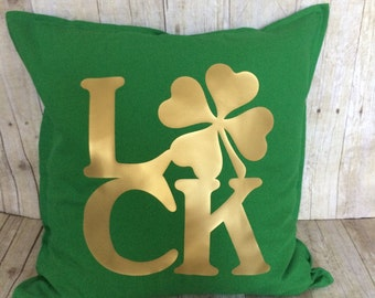 St. Patrick's Day pillow- luck pillow- luck- shamrock- shamrock decoration- St. Patrick's Day shamrock- St. Patrick's Day home decor