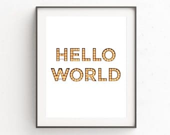 Hello World, Hello Art, Hello Print, Marquee Letters, Typography Printable, Hello Wall Art, Printables, Hello Sign, Digital Prints