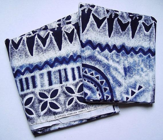 "Vintage Gordon Hawaiian Fabrics Tiki Tapa Oceanic Print Barkcloth 44"" W x 148"" L"