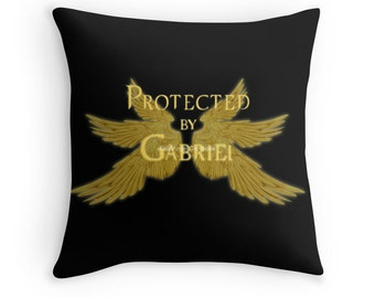 Supernatural Protected by Gabriel Throw Pillow, Pillow Case and Insert, Multiple Sizes Available! - Archangel