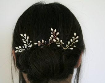 Bridal pearl hair pins, set of 3, wedding hair pins, ivory pearl hair pins, wedding headpiece, Vine hair pin, rice pearl hair pins