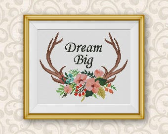 BOGO FREE! Floral Antlers Cross Stitch Pattern, Dream Big xStitch, Wild Deer Animal Flowers Modern Home Decor PDF Instant Download #046-1-31