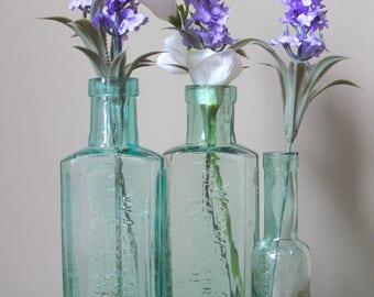 3 Vintage Glass Bottles / Vases