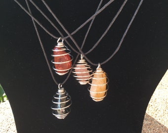 Tumbled Crystal Cage Pendants