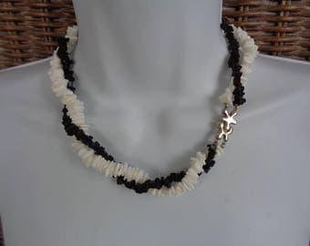 Black and White Double Strand Necklace with Sterling Silver Jigsaw Clasp