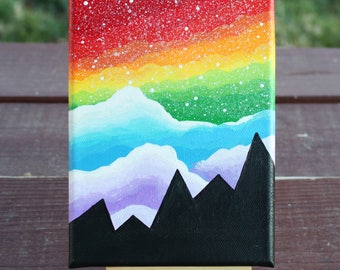"Rainbow Skies Abstract Fantasy Acrylic Painting on Stretched Canvas 5""x7"""