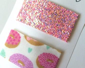 Donut Snap Clip//Glitter Snap Clip Set - Doughnut Snap Clip