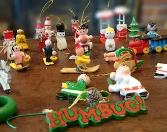 Vintage Wooden Ornament Collection/ 27 ornaments/ Mini Wooden Ornaments