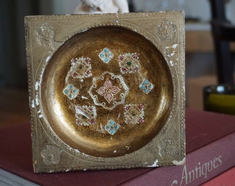 Vintage Florentine Tray/ Gesso Wood Gilt Florentine Tray/ Shabby Chic/ Chippy Gilding