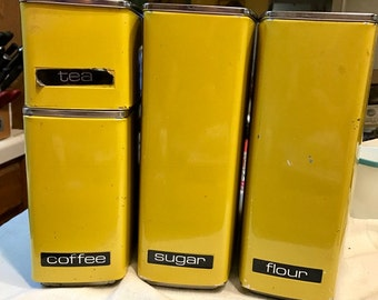 Vintage Set of Four Stackable Canisters, Lincoln Beauty Ware Canisters, Décor