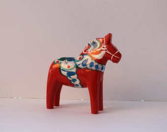 Large 6.5 inch tall-Vintage Swedish Hand Painted-Wooden Red Dala Horse with Blue and Green Accents-Grannas A. Olson