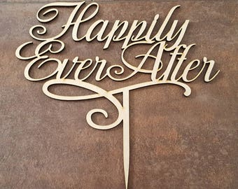 Happily Ever After Wedding Cake Topper, Keepsake, Romantic Cake Topper, Anniversary, Engagement, Keepsake, Gift