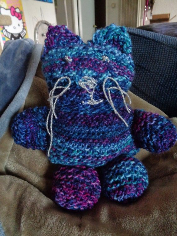 """knit kitty/cat/toy/collectible- """"Twilight"""""""