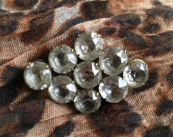9 clear stone vintage brooch