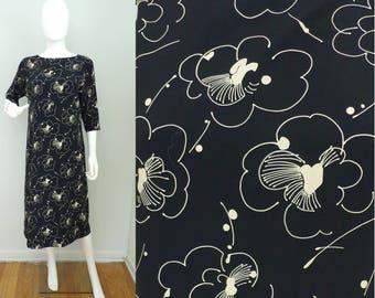 Vintage 90s Floral Black & Tan Abstract Print Dress Size Medium/10, V Back Dress, Sheath Dress, Midi Dress, Black Dress, Abstract, Summer