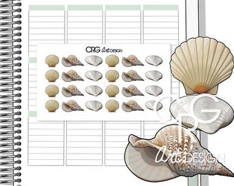 Sea Shells Stickers | Planner Erin Condren Plum Planner Filofax Sticker