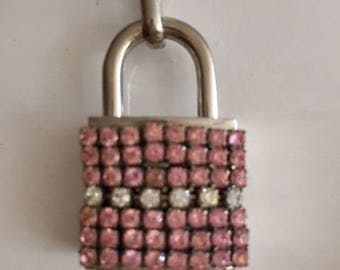 Padlock Pink Rhinestone Chain Necklace