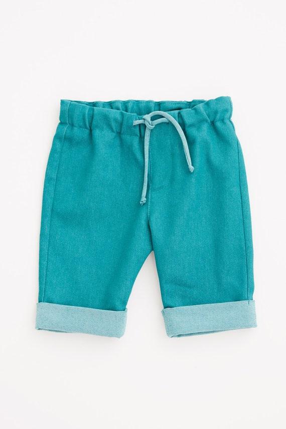 ROULI-ROULANT - bermuda short like jeans for kids - turquoise bleu