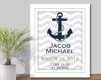 Nautical Nursery Art - Printable. Nautical Baby Stats, Nautical theme, Nautical Printables, Baby birth statistics, birth announcement - 3