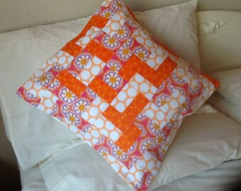 Scrappy quilted cushion cover