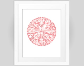Pink Diamond, Graphic Design Gemstone Print 8x10, digital print, instant download