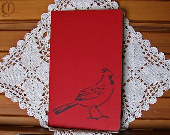 Moleskine Cahier Journal-Cranberry Red with Hand-Stenciled Cardinal