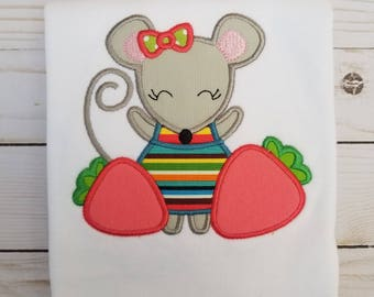 Mouse - Strawberries - Embroidered Shirt
