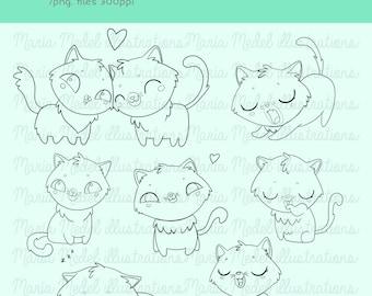 Paquete de sello DIGITAL gatitos para scrapbook, cardmaking, etc.