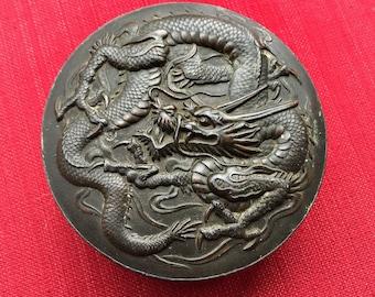 Vintage Asian / Chinese DRAGONS & CRANES Round Metal Inkstone Box - Black Painted Bronze / Brass - Marked