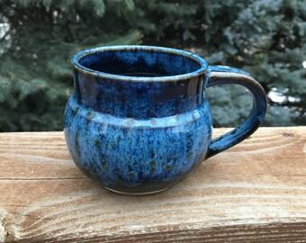 Handmade, Stoneware, Pottery Wheel-Thrown, Two-Tone Mug in Vivid Blue Glaze Combo