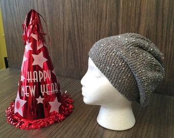 fancy gray with silver sequins glam slouchy crocheted hat, Great for New Year's