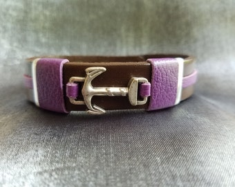 Anchor Leather Bracelet accented with Purple Leather