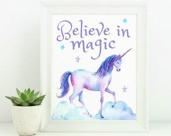 Unicorn Decor, Unicorn Wall Decor, Unicorn Wall Art, Unicorn Printable, Unicorn Theme, Unicorn Art, 8x10 Printable