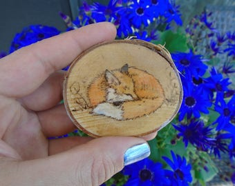 Cedar Magnet, Sleeping Fox Hand Burned into Cedar Wood with Watercolors