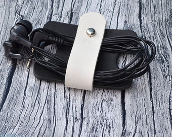 Leather Cord Organizer // Headphone Case - Earbud Holder - Cable Holder - Leather Cord Keeper - Leather Earphone Holder