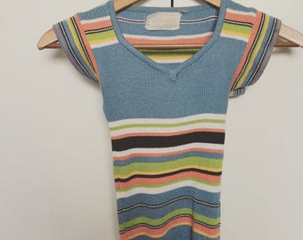 SOLD DO not buy Retro 70s tee size xs small top striped knit shirt