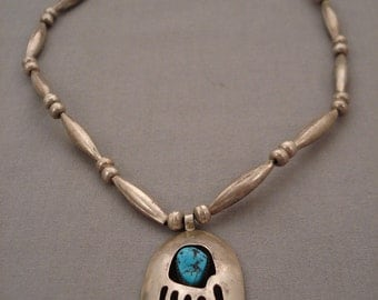 Magnificent Vintage Navajo Turquoise Bear Silver Necklace
