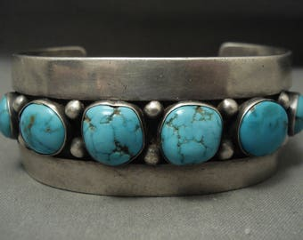 Absolutely Stunning Vintage Navajo Blue Carico Lake Turquoise Silver Bracelet