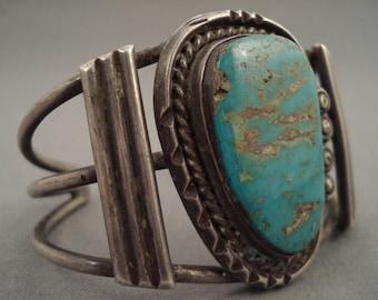Quality Big Vintage Navajo 'Blue Royston' Turquoise Silver Bracelet