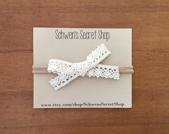 Lace hand tied bow, baby girl headband, baby hair bow, baby headband, nylon headband, baby girl bow, school girl bow, infant headband