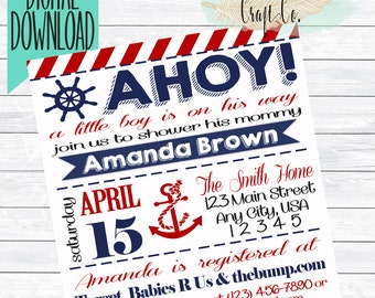 Ahoy! Nautical Baby Shower Invitation,Anchor,Red,Navy,Printable,DIY,Digital Download,5X7,Sailor,Sea,Ocean