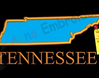 Tennessee Map Applique Design-Embroidery Pattern-Instant Download-PES