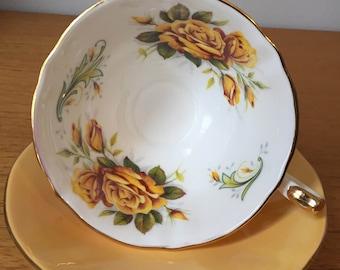 """Elizabethan """"Princess"""" Teacup and Saucer, Yellow Rose Vintage Tea Cup and Saucer, Bone China, Deep Yellow Gold, Tea Party"""
