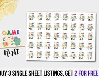 Game Stickers, Game Planner,Game Night Stickers, Game Night Planner, Erin Condren, Filofax