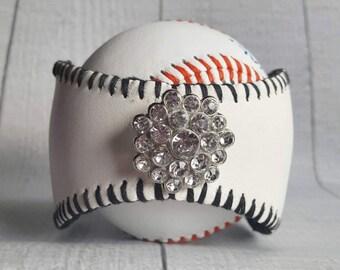 Baseball Cuff with Crystal Setting - Baseball Cuff - Baseball and Bling Leather Cuff - Baseball Jewelry - Baseball Bracelet