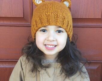 Gold Lacy Bear Earred hat