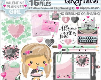Valentine Clipart, 80%OFF, Valentine Graphics, COMMERCIAL USE, Valentine Party, Planner Accessories, Love Clipart, Planner Girl, Kawaii