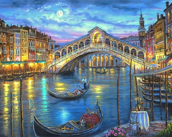 BUY 2 GET 1 FREE! Grand canal, Venice Landscape Cross Stitch Pattern Counted Cross Stitch Chart, Pdf Format, Instant Download /275209