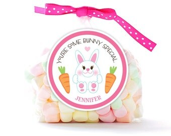 Personalized Stickers You're Some BUNNY Special, Easter Circle Stickers, Easter Party Favor, Happy Easter Bunny Circle Stickers
