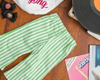 12months-5T Bell Bottoms Vintage Green Stripe Toddler Pants Bells